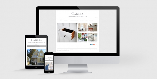 Carlia Design och Arkitektur hemsida